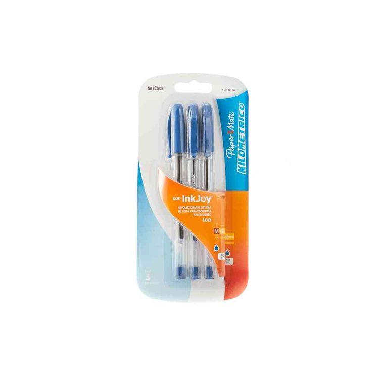 Boligrafo-Paper-Mate-Kilometrico-100-Azul-Bx3-Boligrafo-Paper-Mate-3-Unidades-1-22993