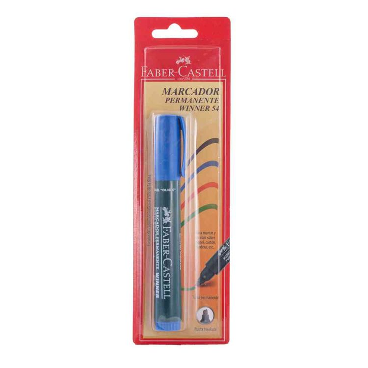 1--Rotulador-54-Permanente-Pbisel-Azul-Marcador-Permanente-Azul-Faber-Castell-Punta-Bliseada-1-32994