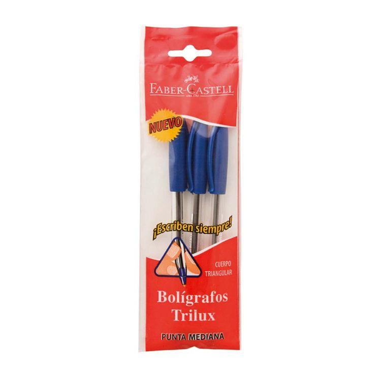 Boligrafo-Trilux-Azul-Faber-Castell-3-Unidades-1-34669