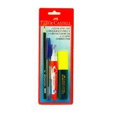 Combo-Faber-Castell-1-Boligrafo---1-Resaltador---1-Grafito---1-Corrector-1-26984