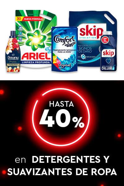 Hasta 40% en Detergentes y suavizantes de ropa