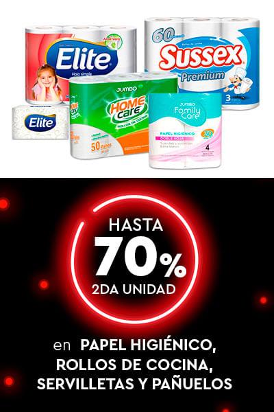 Hasta 2do al 70% en Papel higiénico, rollos de cocina, servilletas y pañuelos