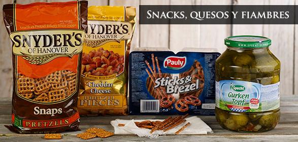 Snacks, quesos y fiambres
